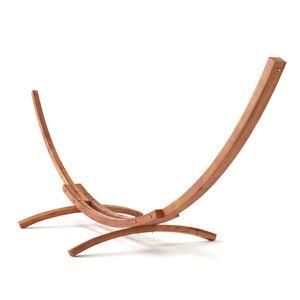 MotionXperts Outdoor Hängemattengestell 410 cm, Holz sibirische Lärche wetterfest, Gestell Bermuda braun ohne Hängematte
