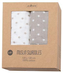 Spucktücher 2er Set, 100% Baumwolle, 120x120 cm, grau weiß mit Sternen