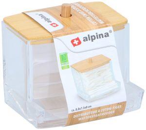 Alpina Bambus Ohrenstäbchen Wattestäbchen Spender Kosmetik Transparent Organizer