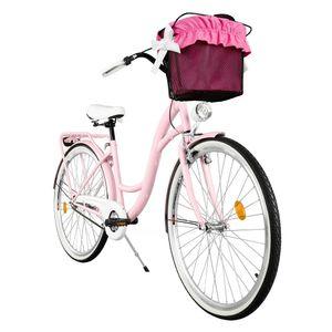 Milord Komfort Fahrrad Mit Korb Damenfahrrad, 28 Zoll, Rosa, 1 Gang