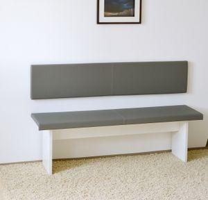 XXL Wandkissen mit Montage-Set 150cm x 30cm passend zu Klemmkissen versch. Farben, Farbe:grau