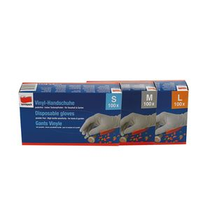 Einweghandschuhe Vinyl Einmal Handschuhe Einweg Schutzhandschuhe Hygiene (100 Stück (1 Pack),L)