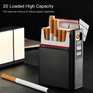 Zigarettenspender Aufbewahrungsbox Flip Zigarettenetui 20 Hohe Kapazität mit abnehmbarem USB-Zigarettenanzünder[Schwarz]