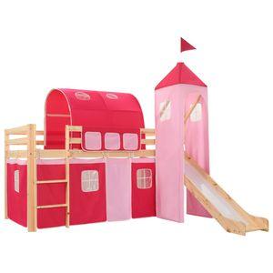 Kinderhochbett-Rahmen Möbel,Baby-,Kleinkindmöbel,Baby-,Kleinkinderbetten Kinderhochbett-Rahmen mit Rutsche Leiter Kiefernholz 208x230cm