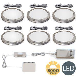 LED Unterbauleuchten 6er Set Schrankleuchten 1,8W 170 Lumen Warmweiß LED Küchenlampen Vitrinenbeleuchtung Zubehör inkl. B.K.Licht
