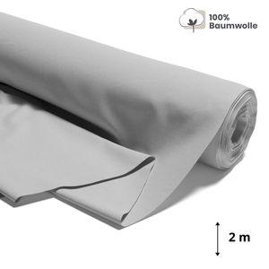 Baumwollstoff Meterware grau Stoff aus 100% Baumwolle 1,6 m x 2 m - Stoffe zum Nähen Nähstoffe Stoffe Uni Baumwollstoffe  Standard 100