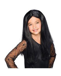 Schwarze Hexenperücke für Kinder als Halloween Perücke