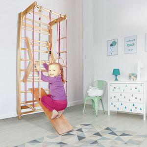 Sprossenwand Kletterwand Turnwand Klettergerüst Turngeräte Holz Kinder indoor, Farbe:Sprossenwand 004 - Rote Seile