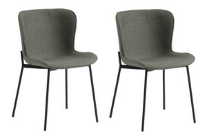 SalesFever Esszimmerstuhl 2er Set | Sitzschale Strukturstoff | Stuhlbeine Metall | B 48 x T 56 x H 79 cm | khaki-schwarz