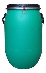 60 Liter Deckelfass, Kunststofffass, Fass, Weithalsfass Spannring Tonne Farbe grün (60 D grün)