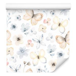 10m VLIES TAPETE Rolle Blumen Blätter Schmetterlinge Aquarell XXL