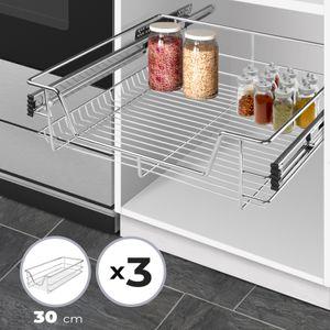 Jago® Teleskopschublade - 30 cm, 3er Set,  inkl. Schienen, für Schrankbreite 30 40 50 oder 60 cm, verchromt, Setwahl - Küchenschublade, Schublade, Korbauszug, Schrankauszug, Schubladeneinsätze für Küchenschrank