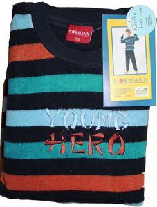 Kinder Frottee Winter Pyjama, Schlafanzug, Gr. 116, Blockstreifen, bestickt, Bündchen, Langarm + lange Hose