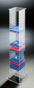 Hochwertiger Acryl-Glas CD DVD Ständer / CD DVD Regal / CD DVD Aufbewahrung, klar, 20 x 20 cm, H 101 cm, Acryl-Stärke 6 / 4 mm