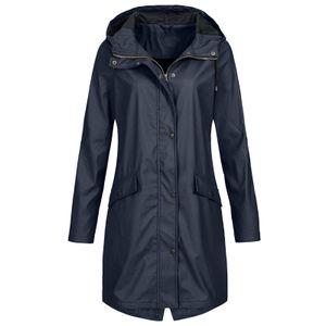 Einfarbige Regenjacke für Damen Outdoor Hoodie Wasserdichter winddichter langer Mantel Größe:S,Farbe:Navy