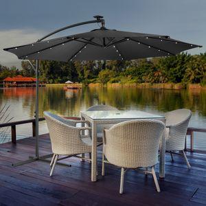 Sonnenschirm Luxus mit LED Beleuchtung Ampelschirm Ø3m Farbe Anthrazit - direkt vom Hersteller