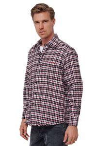 Herren Flanell Hemd Kariertes Urban Vintage Holzfällerhemd Freizeit Checkshirt, Farben:Rot, Größe Hemd:L