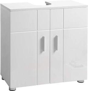 VASAGLE Waschbeckenunterschrank mit Doppeltür und verstellbaren Ablagen, Badezimmerschrank , Unterschrank 60 x 30 x 60 cm, weiß BBK02WT
