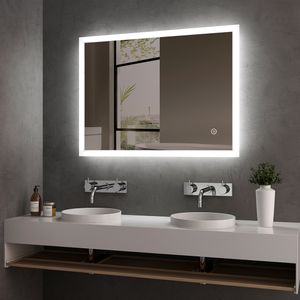 LED Badspiegel 80x60cm Badspiegel mit Beleuchtung kaltweiß Lichtspiegel Badezimmerspiegel Wandspiegel mit Touchschalter + beschlagfrei IP44 energiesparend Meykoers