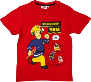 Feuerwehrmann Sam Jungen T-Shirt - 2er Pack mit Motiven von Fireman Sam, Farbe:Blau & Rot, Größe:122/128