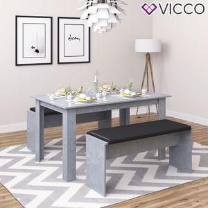 Vicco Tischgruppe Beton - Sitzgruppe Essgruppe Holztisch Esstisch Holz Tisch
