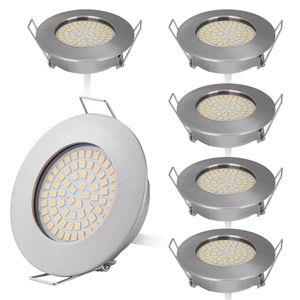 6er Set Flaches Design Mini LED Einbaustrahler 230V nur 25mm Einbautiefe Flach Deckenstrahler Warmweiß 3000K, 400 Lumen, 4W, Edelstahl Gebürstet, 58mm Lochausschnitt