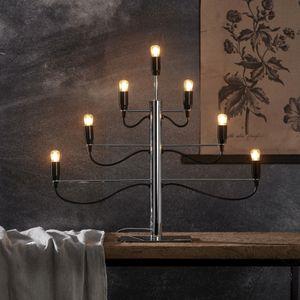 Kerzenleuchter/Tischleuchte 'Milano' - 7-armig - E14 Fassung - H: 52,5cm, L: 60cm - schwarz/silber