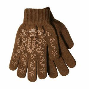 Pfiff Handschuh mit Print braun/beige