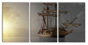 Großes Segelschiff im Sonnenuntergang B&W Detail, XXL Leinwandbild in Übergröße 240x120cm Gesamtmaß 3 teilig / Wandbild / Kunstdruck