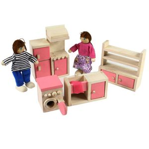 Holzmöbel Puppenhaus Miniatur Menschen Familienzimmer Set Geschenke Kinder Spielzeug