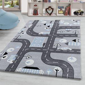 Kinderteppich Spielteppich Für Kinderzimmer Straßen Motiv Grau Blau Weiß, Farbe:Silber, Grösse:120x170 cm