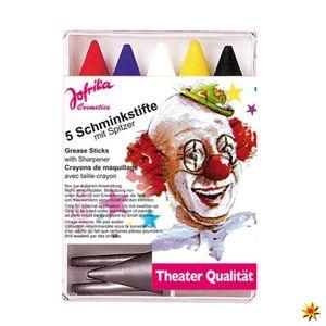 Schmink-Set Clown, 5 Schminkstifte Clownsschminke