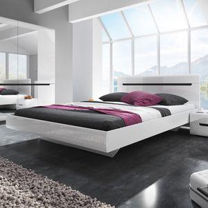 Bett Doppelbett Ehebett 160x200cm weiß / weiß glanz dunkel