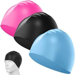 3er-Pack Silikon-Badekappen, Unisex, wasserdicht, langlebig, elastisch, für Schwimmer, mit langem, dickem oder lockigem Haar, passend für Kinder, Damen, Herren – hellblau, rosarot, schwarz