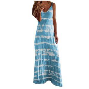Frauen Casual Plus Size Loose V-Ausschnitt Tie-Dye-Print Ärmelloses Schößchenkleid Größe:M,Farbe:Blau
