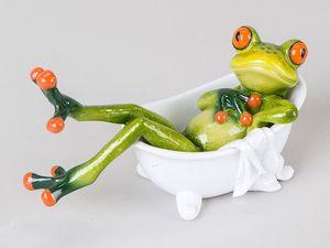 Süßer Frosch in Badewanne Deko Figur Dekofigur Dekoration Zierfigur Wanne Bad