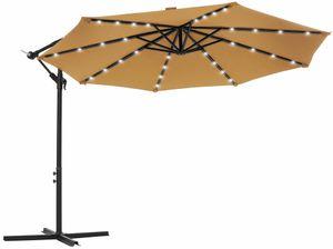 SONGMICS Sonnenschirm mit LED-Solar-Beleuchtung, Ø 300 cm, 32 LED-Lämpchen, UV-Schutz bis UPF 50+, Ampelschirm, Gartenschirm, mit Ständer, mit Kurbel, taupe GPU018K01