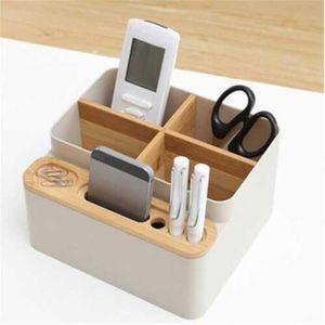 Schreibtisch Organizer Bambus Holz Aufbewahrung Kasten Stift Halter Box Behälter