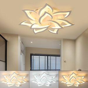 Moderne LED Blumen Kronleuchter Pendellampe Decken Beleuchtung 60W 3 + 7 Kopf Deckenleuchte mit Fernbedienung Pendelleuchte Deckenlampe