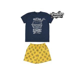 Sommer-Schlafanzug Spongebob Blau Gelb  ; Gro§e: L