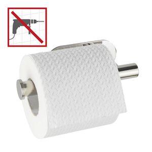 WENKO Toilettenpapierhalter Salve, Edelstahl glänzend, selbstklebend ohne bohren, 17 x 8 x 5cm