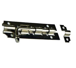 Schubriegel [111mm] aus Edelstahl   Türriegel   Torriegel   Türbeschlag   Bolzenrigel   Überfalle Farbe Silber