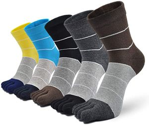 Herren Zehensocken Baumwolle Männer Fünf Finger Socken Sport Laufende Socken mit Zehen, EU 39-44, 3/4/5 Paare