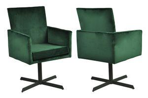 SalesFever Polstersessel 2er Set | Stoffbezug in Samt-Optik | Gestell Metall schwarz | 360 Grad drehbar | B 55 x T 55 x H 87 cm | tannengrün