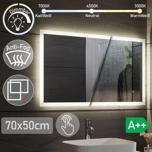 Aquamarin® LED Badspiegel - 50x70 cm, Beschlagfrei, Dimmbar, 3 Lichtfarben 3000-7000K, Kaltweiß Neutral Warmweiß, energiesparend, vertikal/horizontal - Badezimmerspiegel, Lichtspiegel, LED Spiegel