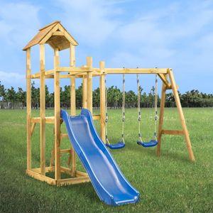 dereoir Spielturm mit Rutsche Schaukel Leiter 285 x 305 x 226,5 cm