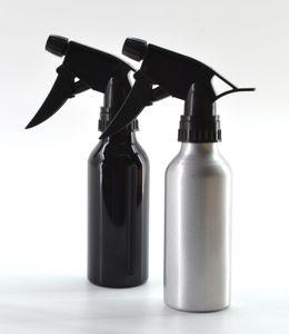 2er Set 200 ml Alu Sprühflasche Silber & Schwarz Zerstäuber Wassersprühflasche Pumpsprüher Handsprüher