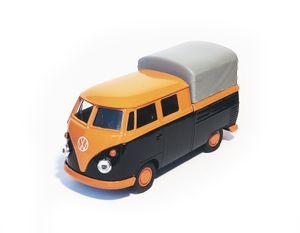 VOLKSWAGEN Bus T1 Doppelkabine PICK UP VW Pritschewagen Pritsche Bulli Bully Samba Modell Auto Metall Modellauto Spielzeugauto 53 (Orange/Schwarz)