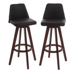 2x Barhocker HWC-C43, Barstuhl Tresenhocker, Holz Kunstleder drehbar  braun, dunkle Beine