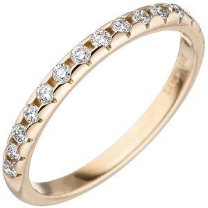 JOBO Damen Ring 56mm 585 Gold Gelbgold 15 Diamanten Brillanten Goldring Diamantring